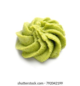 Portion of wasabi on white background.