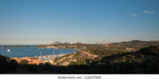 Portisco, italy - june  30 ,2018 : Harbor with boats at Portisco in Costa Smeralda resort in Mediterranean sea, Sardinia, Italy