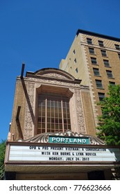 PORTLAND, OR -21 JUL 2017- Day view of the Arlene Schnitzer Concert Hall (Portland Publix Theater), a landmark building in Portland, Oregon.