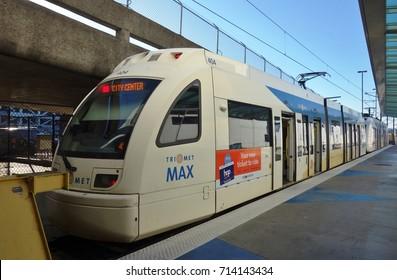 PORTLAND, OR -21 JUL 2017- A MAX (Metropolitan Area Express) light rail train in the Portland, Oregon, metropolitan area.