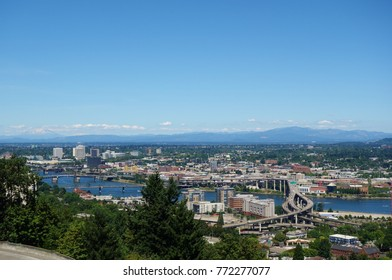 PORTLAND, OR -21 JUL 2017- Panoramic view of Portland, Oregon from the Oregon Health & Science University (OHSU) campus.