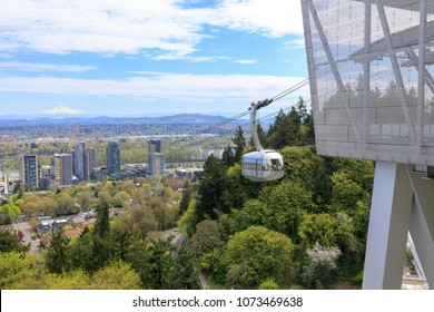 Portland Aerial Tram (OHSU Tram) between the city's South Waterfront district and the main Oregon Health & Science University (OHSU) campus