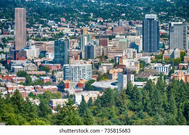 PORTLAND, OR - AUGUST 2017: Aerial view of Portland skyline. The city attracts 3 million tourists annually.