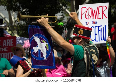 Portland, OR – August 4, 2018: The Clowns for Peace and Reason (CPR) took part in community defense of Portland, OR. Offering a non-violent alternative to black bloc tactics.