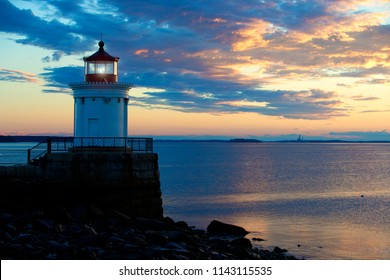 Portland Breakwater Lighthouse, also known as Bug Light in South Portland Maine.