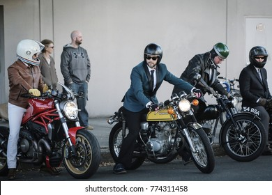 PORTLAND, OR - CIRCA SEPTEMBER 2016: A group of men get ready to join the annual Distinguished Gentleman's Ride in Portland, Oregon circa September 2016 on a variety of motorcycles.