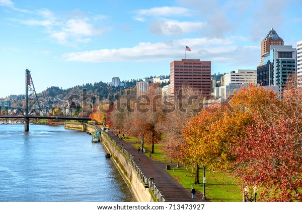 Portland city skyline at autumn, Oregon, USA.