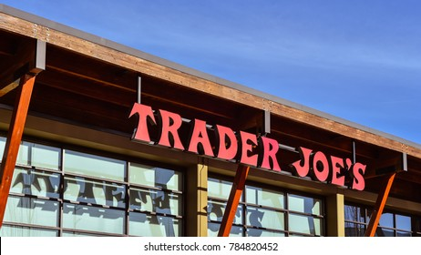 Portland, OR - Dec. 31, 2017: Trader Joe's store in Portland, Oregon. Based in Monrovia, California, Trader Joe's is an American chain of grocery stores.