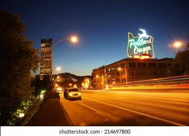 Portland Downtown at Night, Portland, Oregon, United States of America.