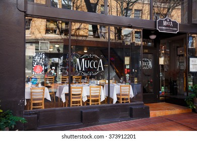 PORTLAND, OR - FEBRUARY 2, 2016: Mucca Osteria Ristorante Italiano, a well known Italian restaurant in downtown PDX.