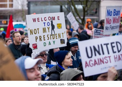 """PORTLAND, OR - FEBRUARY 20: """"We The People"""" march hosted by AFL-CIO in downtown Portland, OR."""