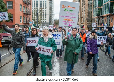 "PORTLAND, OR - FEBRUARY 20: ""We The People"" march hosted by AFL-CIO in downtown Portland, OR."