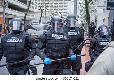 Portland, OR - February 21, 2017: Don't Shoot PDX / Black Lives Matter protest in downtown Portland turns violent when the Portland Police Department intervenes and  arrests activist.