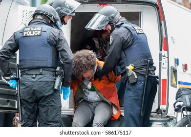 Portland, OR - February 21, 2017: Don't Shoot PDX / Black Lives Matter rally in downtown Portland turns violent when the Portland Police intervenes to make arrests of activist on disruption charges.