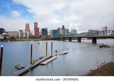 PORTLAND, OR - FEBRUARY 27, 2016: Downtown Portland Oregon seen on a cloudy day from across the Willamette River.
