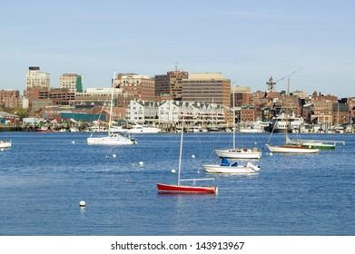 Portland Harbor boats with south Portland skyline, Portland, Maine