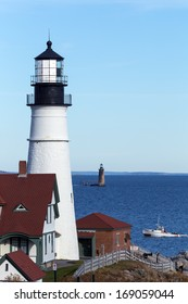 Portland Head close up with Ram Island Ledge Light in the background