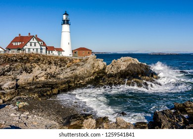Portland Head Light, is a historic lighthouse in Cape Elizabeth, Maine. in the early morning