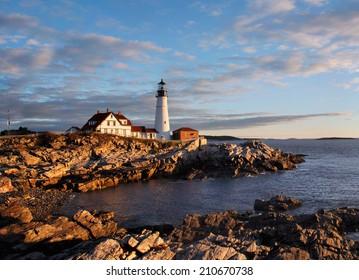 The Portland Head Light At Sunrise, Portland, Maine, USA