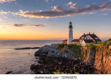 Portland Head Light at sunrise in Maine, New England.