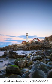 The Portland Head Light At Sunset, Portland, Maine, USA