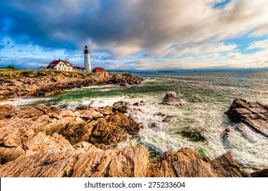 Portland Head Lighthouse during the early morning sunrise, Cape Elizabeth, Maine, USA.