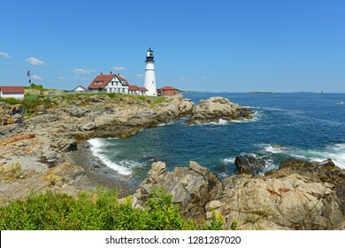 Portland Head Lighthouse and keepers house in summer, Cape Elizabeth, Maine, USA.