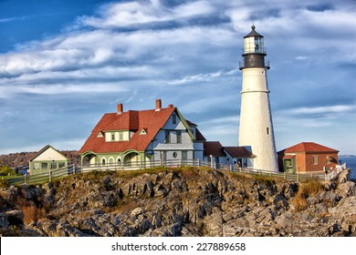Portland Head Lighthouse in Maine early morning