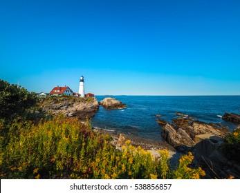 Portland Head Lighthouse off the Coast of Cape Elizabeth, Maine, USA