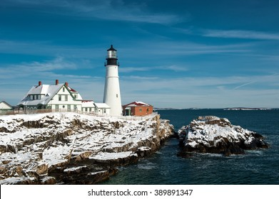 Portland Head Lighthouse on clear, winter day in Maine