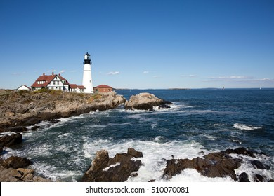 Portland Head Lighthouse, operated by the United States Coast Guard, has guided shipping around Cape Elizabeth, Maine, USA since 1791 and is on the National Register of Historic Places.