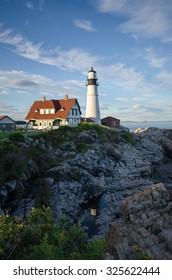 Portland Headlight, Iconic Maine Lighthouse along Rocky Coastline