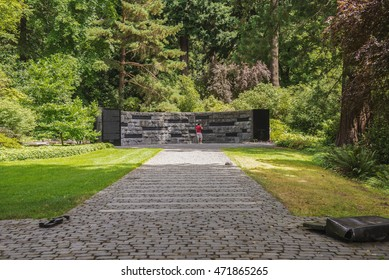 PORTLAND, OR - JULY 31, 2016: A man stands in front of the Oregon Holocaust Memorial in Washington Park in Portland Oregon.