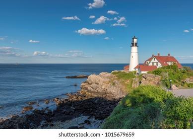 Portland Lighthouse in Cape Elizabeth, Maine, USA.