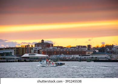 Portland, Maine harbor at sunset
