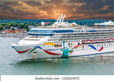 PORTLAND, MAINE - September 13, 2014: Tourism is a huge part of Portland's economy, as cruise ships, such as Norwegian Dawn, bring in thousands of tourists to the city each day.