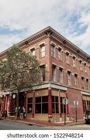 Portland, Maine - September 26th, 2019:  Commercial stores and restaurants in historic Old Port district of Portland, Maine.