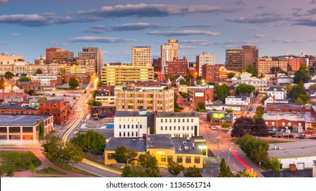 Portland, Maine, USA downtown city skyline at dusk.
