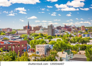 Portland, Maine, USA downtown city skyline in the afternoon.