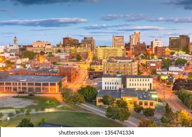 Portland, Maine, USA downtown city skyline at dusk.
