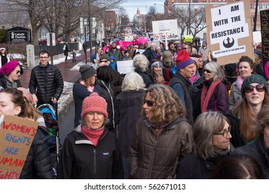 PORTLAND, MAINE, USA - JANUARY 21, 2017: Thousands of protestors march in the Portland, Maine Women's March the day after the inauguration of Donald Trump.