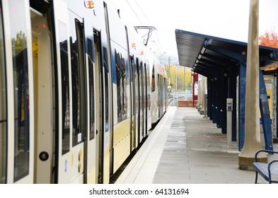 Portland mass transit station in the Beaverton are of Portland Oregon
