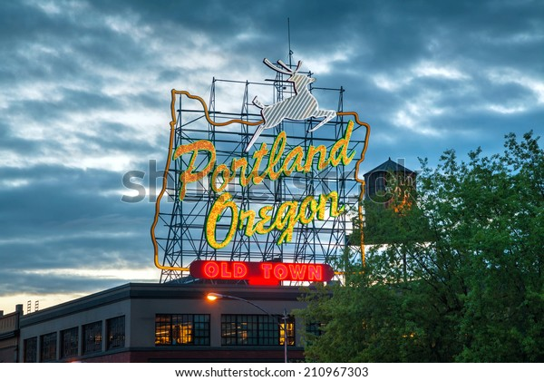 PORTLAND- MAY 05: Famous Old Town Portland Oregon neon sign on May 05, 2014 in Portland, Oregon. The sign faces westbound traffic as it enters downtown Portland coming across the Willamette River.