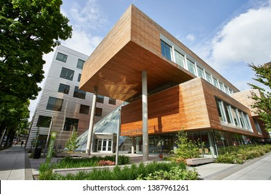 Portland, OR - May 2, 2019: The Karl Miller Center (KMC) at Portland State University (PSU) , a complex consisting of a six-story building and a five-story classroom pavilion united by a glass atrium.