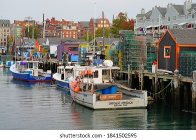 PORTLAND, ME -10 OCT 2020- View of lobster boats in the Portland harbor, Casco Bay, Maine, United States.