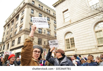 Portland, ME - March 24, 2018: National School Walkout Student Protester Holding Sign, on March 24, 2018 in Portland ME