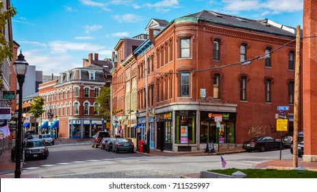 Portland, ME - Oct. 24, 2014: Corner of Fore & Market Sts. of Historical Old Port, a district of Portland, Maine, known for its cobblestone streets, 19th century brick buildings and fishing piers.