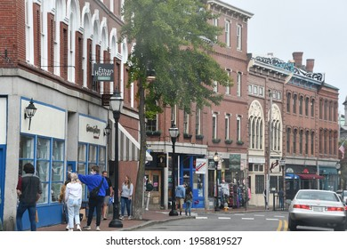 PORTLAND, ME - SEP 26: Fore Street in Downtown Portland in Maine, as seen on Sep 26, 2020.