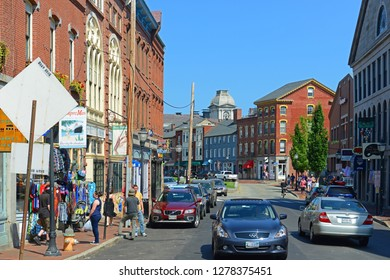 PORTLAND, ME, USA - Aug 24, 2014: Portland Fore Street at Old Port, Portland, Maine, USA. Old Port is filled with 19th century brick buildings and is now the commercial center of the city.