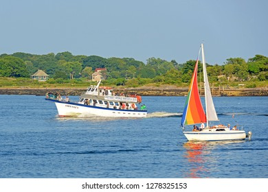 PORTLAND, ME, USA - August 24th, 2014: Odyssey Whale Watch Boat in Portland Harbor, Maine, USA.